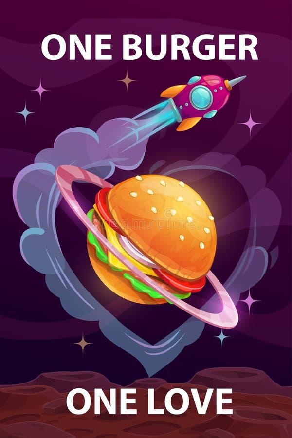Um hamburguer, um amor Cartaz engraçado do alimento da motivação dos desenhos animados com o planeta gigante do hamburguer ilustração do vetor