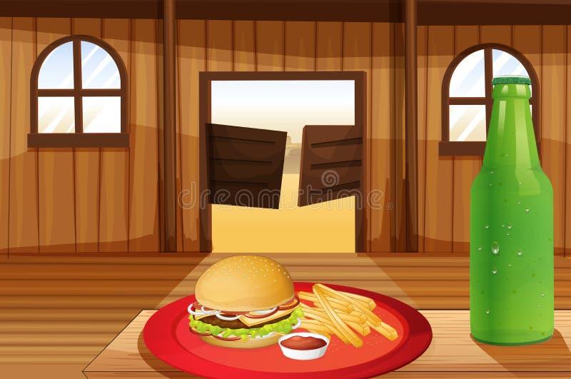Um hamburguer e fritadas em uma placa vermelha e em uma garrafa da soda ilustração stock
