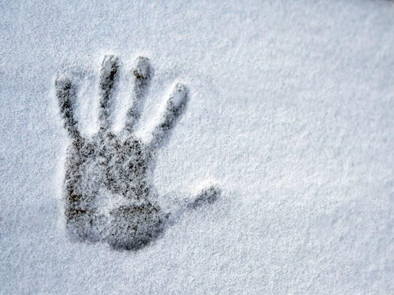 Um handprint na neve fresca fotos de stock