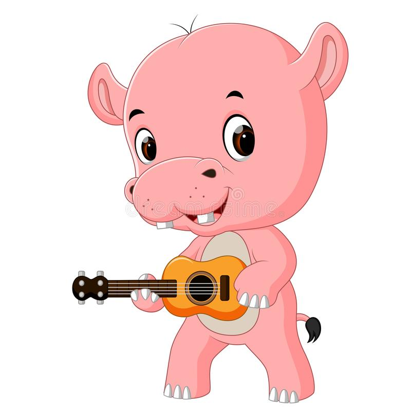 Um hipopótamo engraçado do canto que joga a guitarra ilustração stock