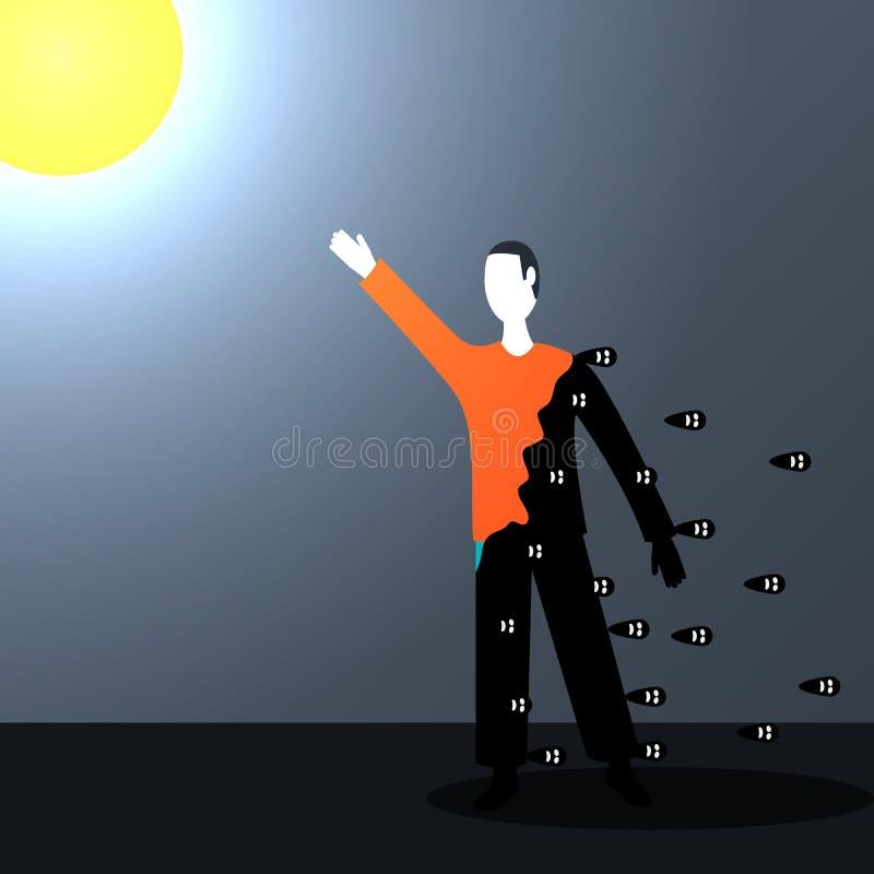Um homem alcança para o sol e limpa-o de todas as coisas más que acumularam nele ilustração royalty free