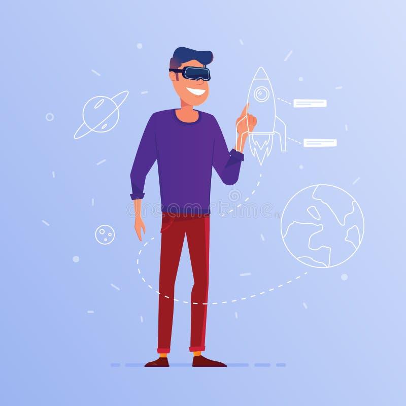 Um homem caucasiano no lançamento dos auriculares de VR começa acima ilustração do vetor