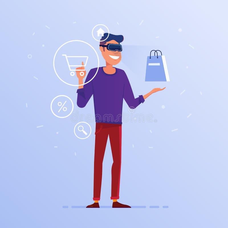 Um homem caucasiano nos auriculares de VR que fazem a compra em linha ilustração royalty free