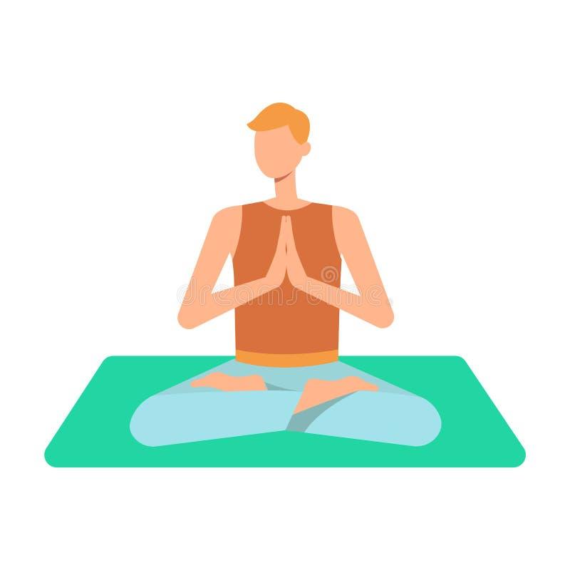 Um homem caucasiano novo louro medita na posição dos lótus sobre uma esteira da ioga ilustração royalty free