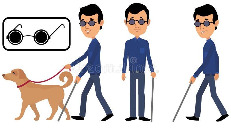 Um homem cego com vidros ilustração stock