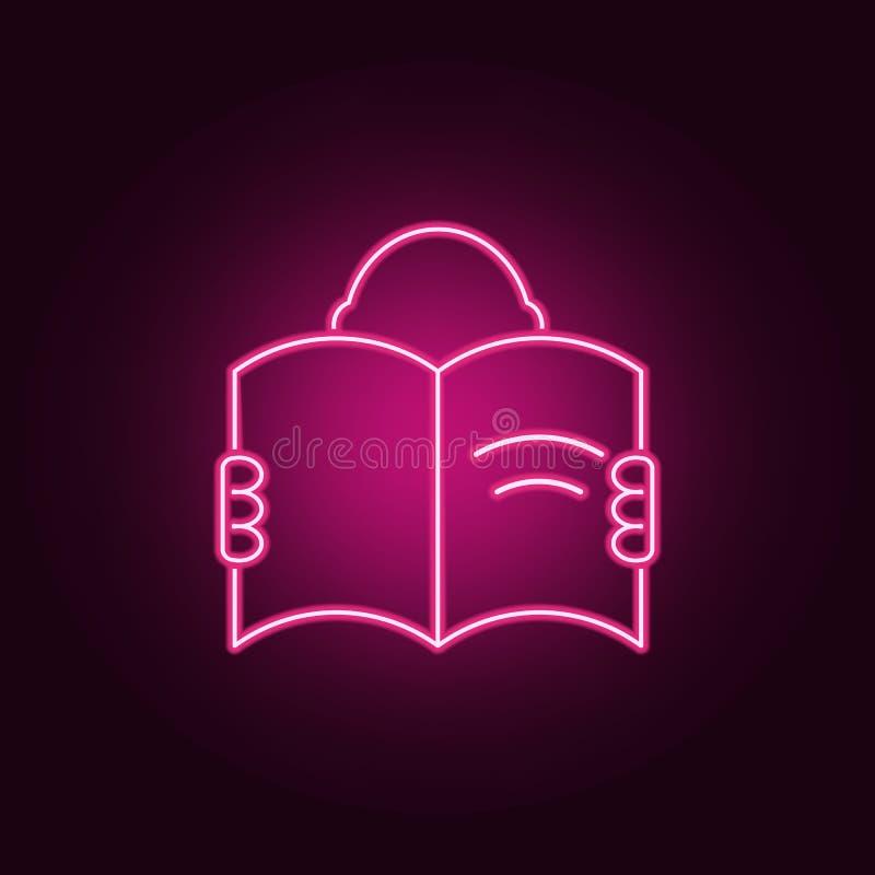 um homem com um ícone aberto do livro Elementos dos livros e dos compartimentos nos ícones de néon do estilo Ícone simples para W ilustração royalty free
