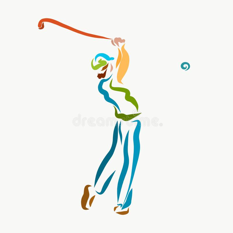 Um homem com um clube de golfe, jogando o golfe ilustração stock