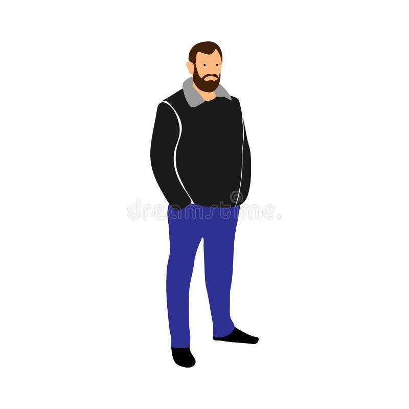 Um homem com o comprimento completo da barba Ilustração do vetor no fundo branco ilustração royalty free