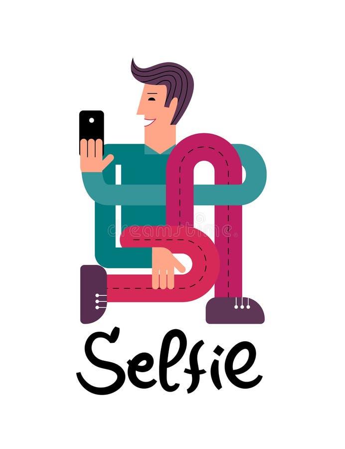 Um homem com um smartphone Um homem toma um selfie Um homem guarda um smartphone em sua mão ilustração stock