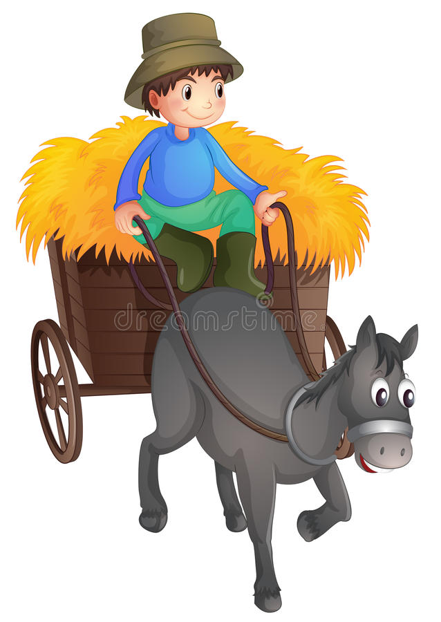 Um homem com um cavalo ilustração royalty free