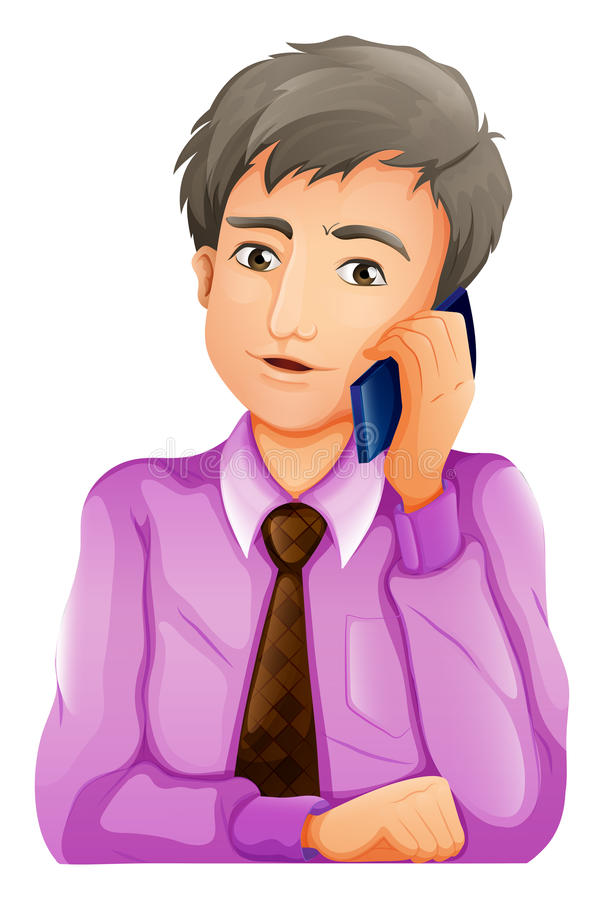 Um homem com um telefone ilustração do vetor
