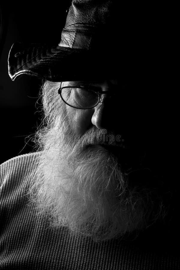 Um homem com uma barba grande, cinzenta foto de stock