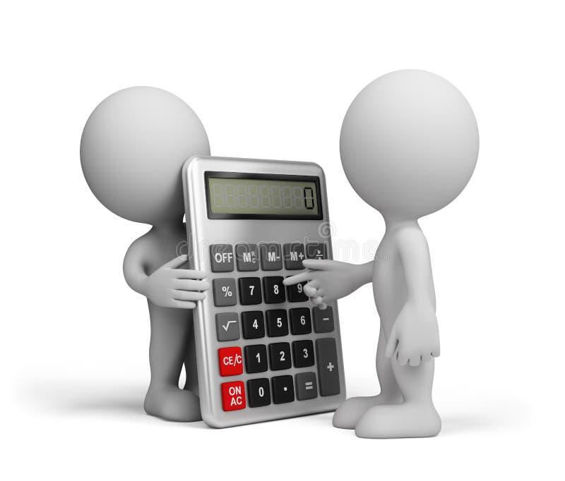 Um homem com uma calculadora ilustração do vetor