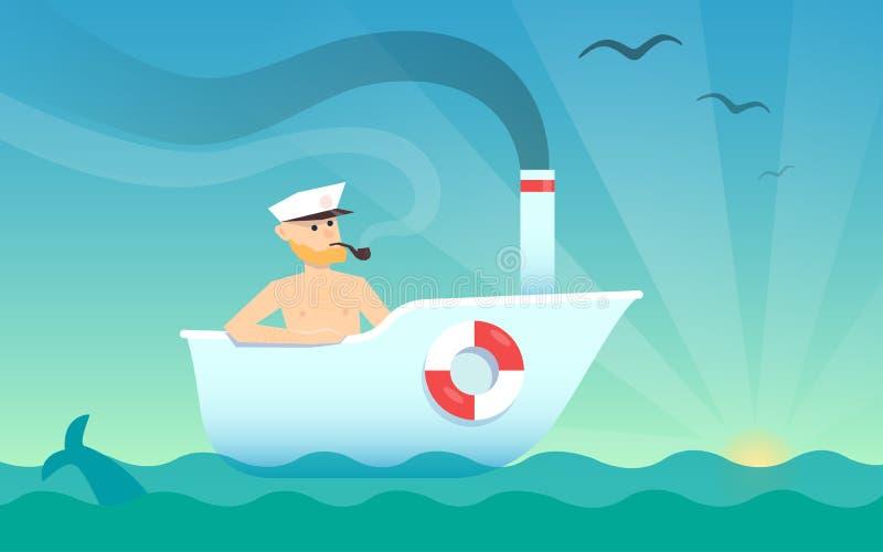 Um homem como a navigação do capitão de mar em uma banheira do barco no mar Uma ilustração cômico do divertimento do cartaz do co ilustração stock