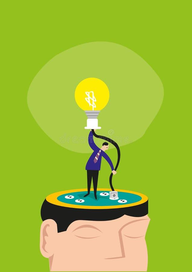 Um homem conecta manualmente um fio em uma cabeça para iluminar acima um bulbo Clipart editável ilustração royalty free