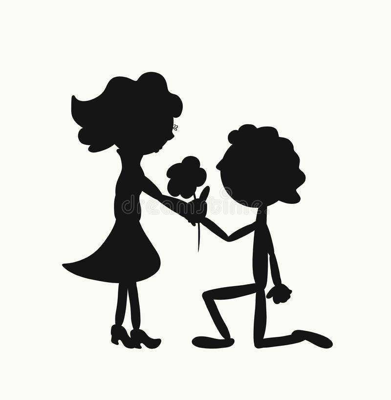 Um homem dá a uma mulher uma flor, ajoelhando-se ilustração royalty free