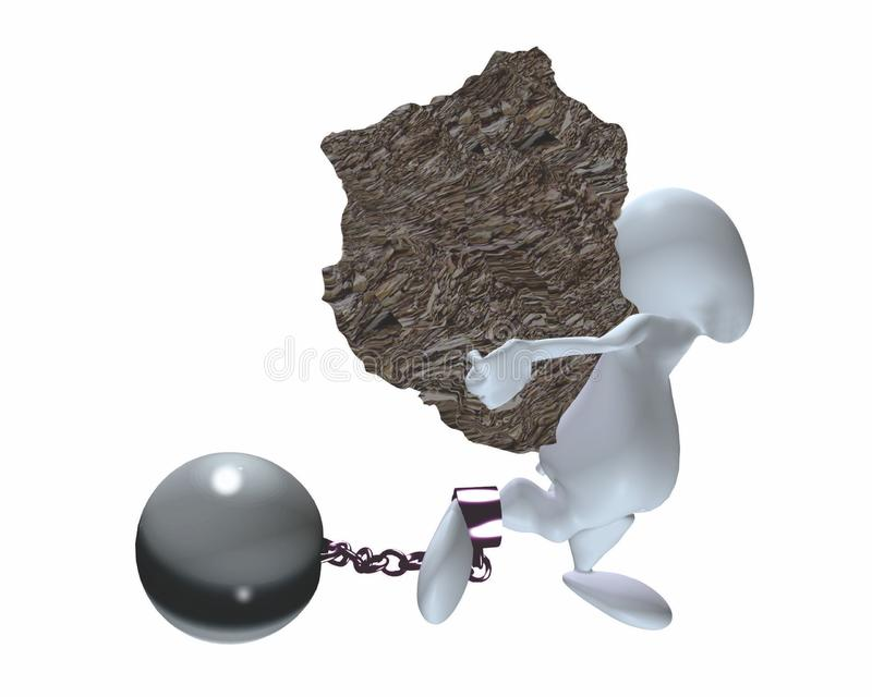 Um homem 3d que leva uma carga pesada com bola e corrente ilustração do vetor