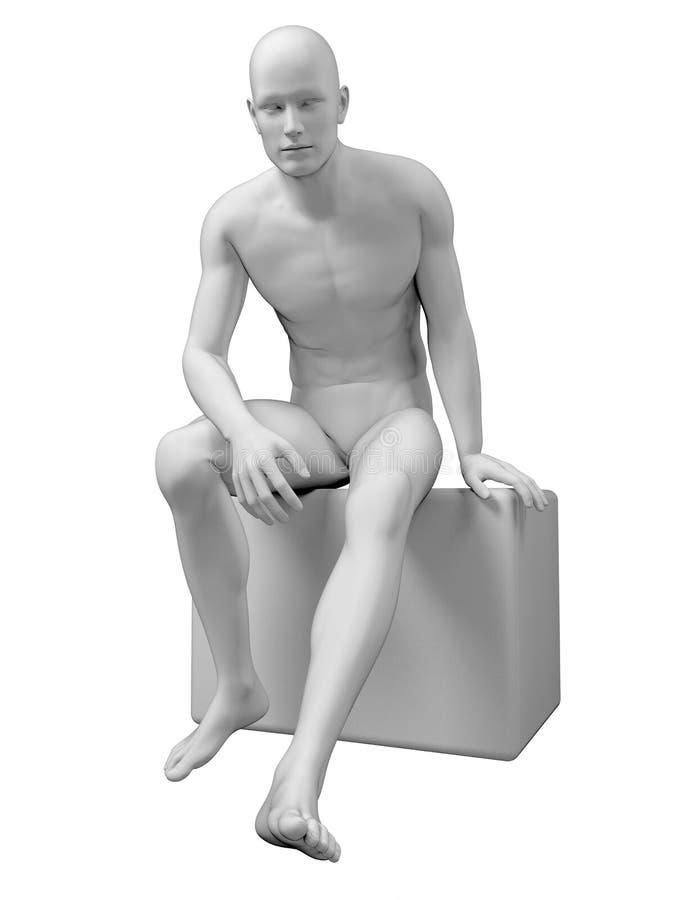 Um homem de assento ilustração do vetor