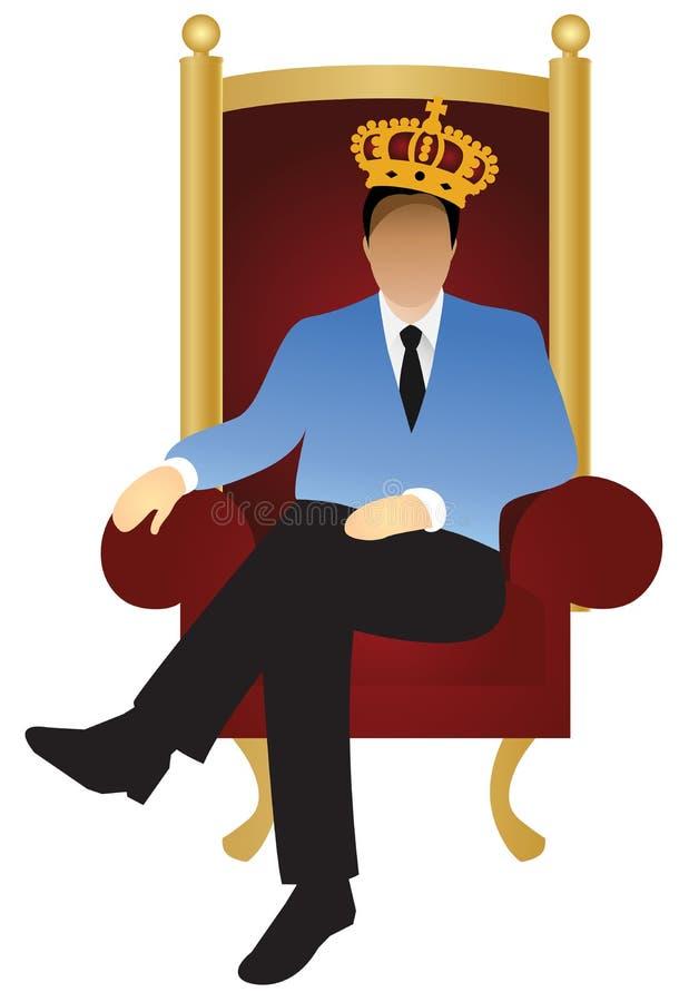 Um homem de negócios bem sucedido está sentando-se como um rei (v ilustração stock