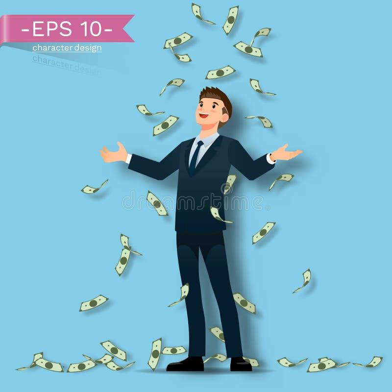Um homem de negócios bem sucedido feliz e comemora com muitas cédulas chove isso que cai para baixo no fundo azul ilustração royalty free