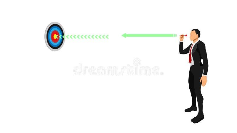 Um homem de negócios dispara em um dardo ilustração stock