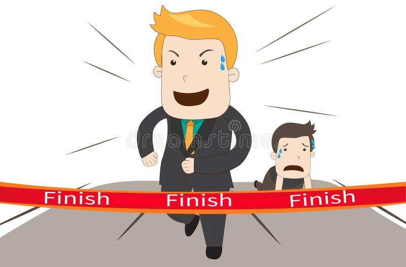 Um homem de negócios dos desenhos animados está ganhando seu concorrente no vetor da raça do negócio ilustração stock