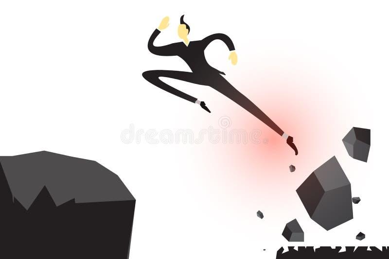 Um homem de negócios está saltando foto de stock