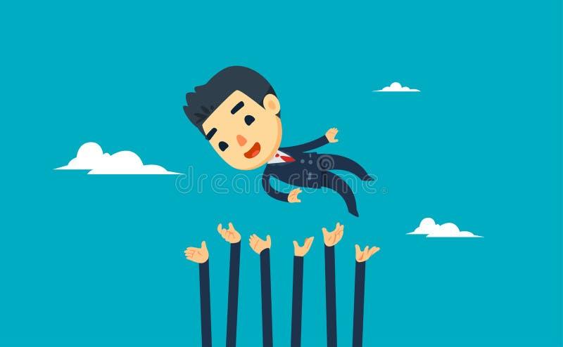 Um homem de negócios está sendo levantado por outros ilustração vetorial ilustração do vetor