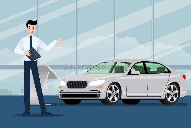Um homem de negócios feliz, vendedor está estando e apresenta seu carro luxuoso que estacionou na sala da mostra ilustração royalty free