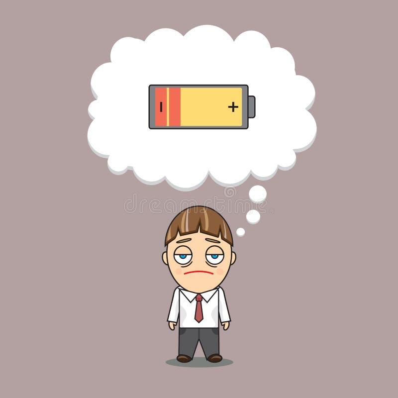 Um homem de negócios não tem nenhuma energia ilustração do vetor