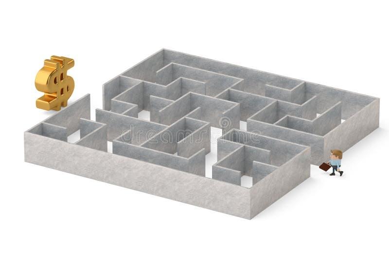 Um homem de negócios no labirinto que encontra o dinheiro ilustração 3D ilustração stock