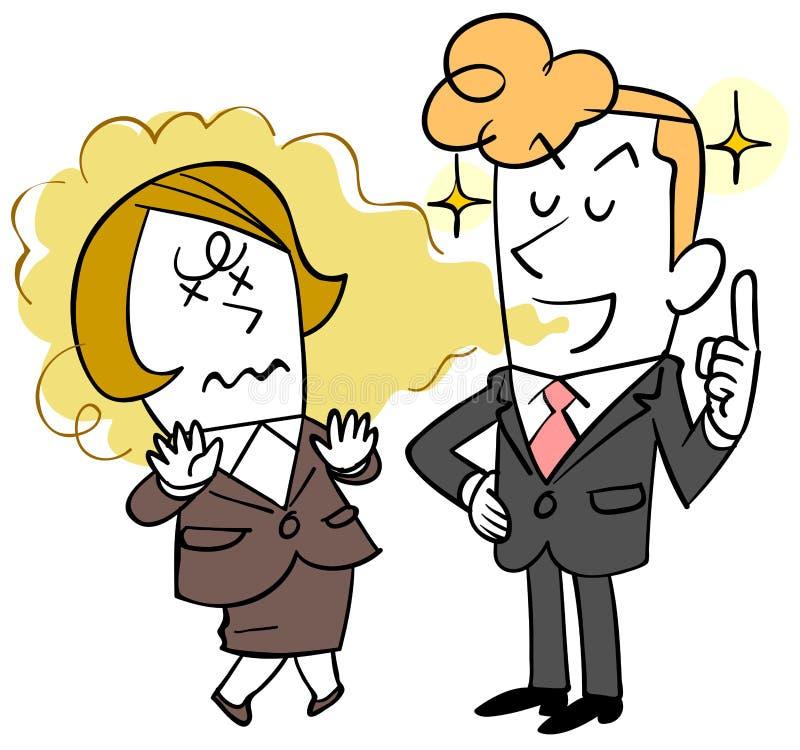 Um homem de negócios novo que não observe o mau hálito e uma mulher que sofra ilustração stock