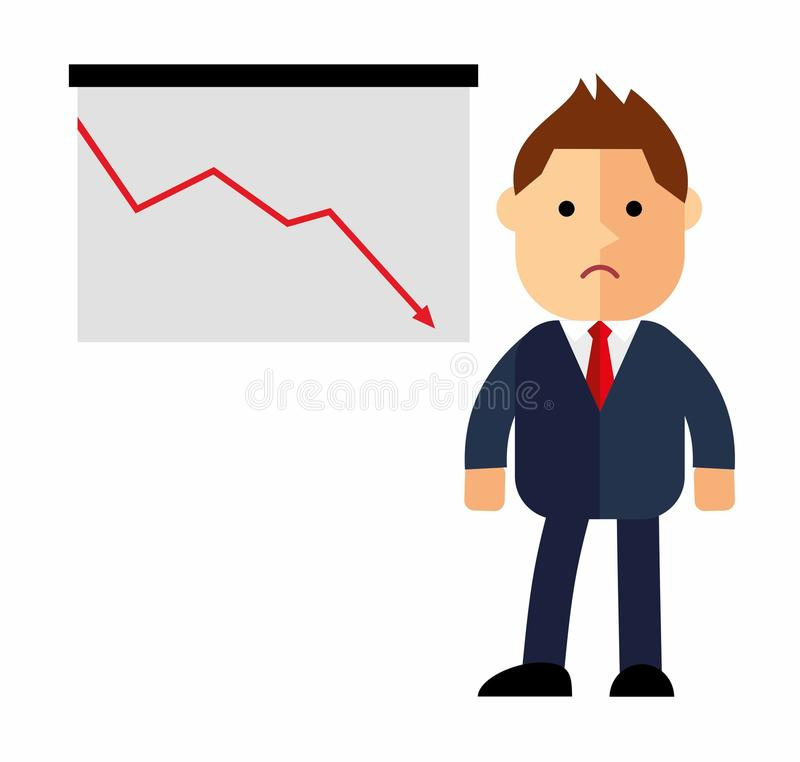 Um homem de negócios ou um gerente que pensam, para baixo setas, gráfico financeiro da estatística ilustração royalty free