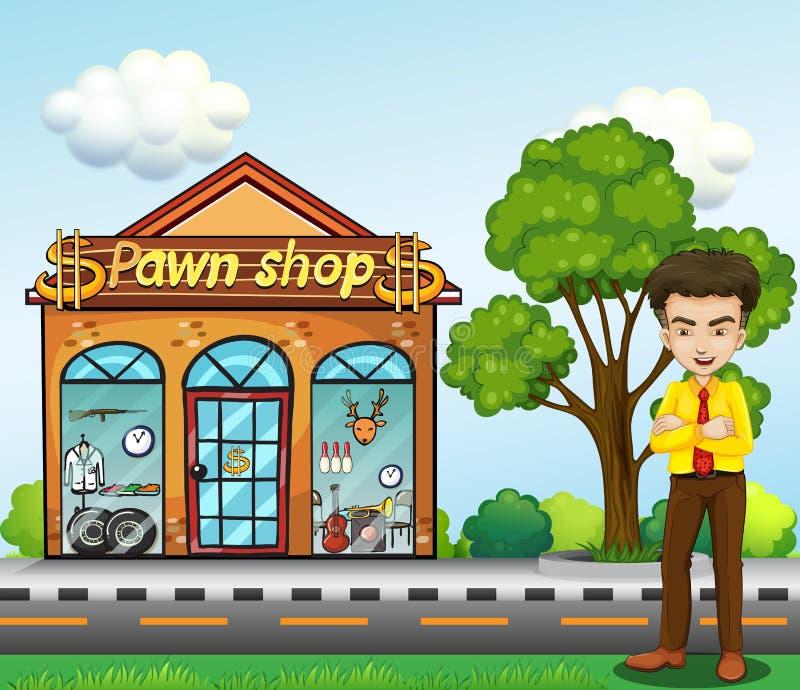 Um homem de negócios que está na frente da casa de penhores ilustração royalty free