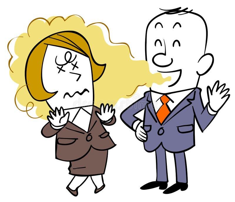 Um homem de negócios que não observe o mau hálito e uma mulher que sofra ilustração royalty free