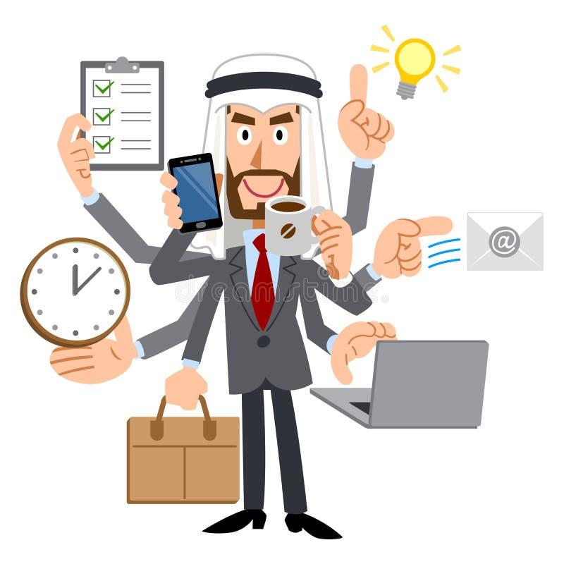 Um homem de negócios talentoso árabe tem muitas tarefas ilustração royalty free