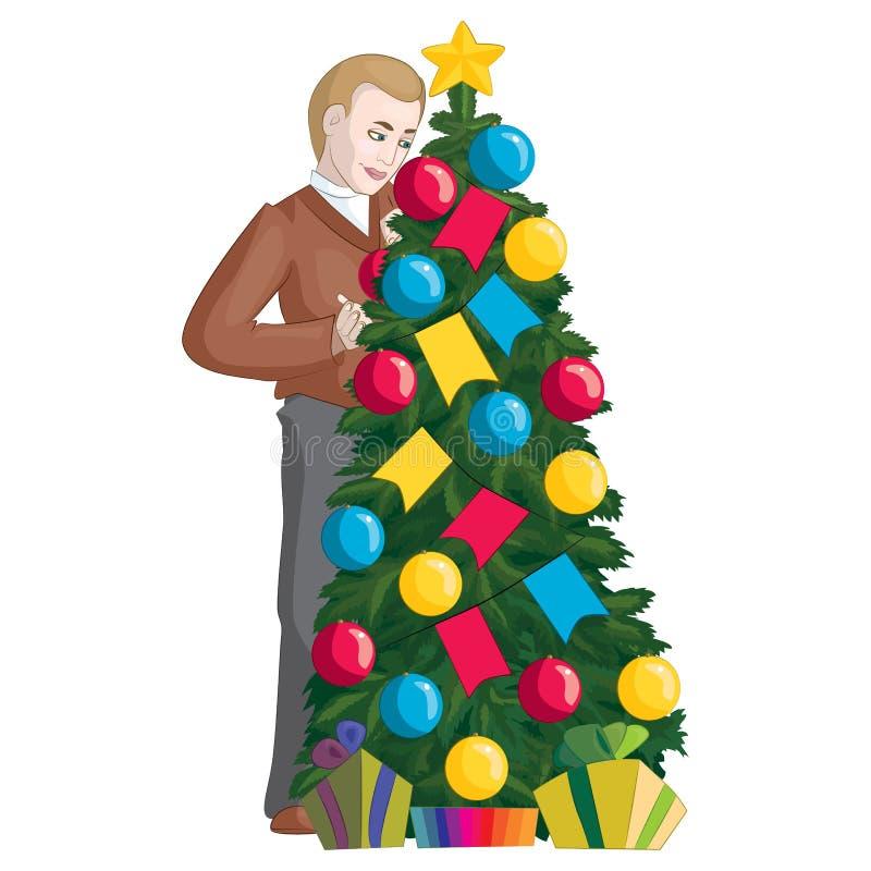 Um homem decora uma árvore de Natal ilustração stock