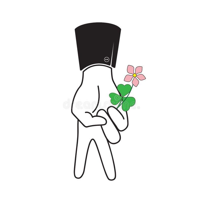 Um homem dos dedos guarda uma flor Ilustração do vetor ilustração stock