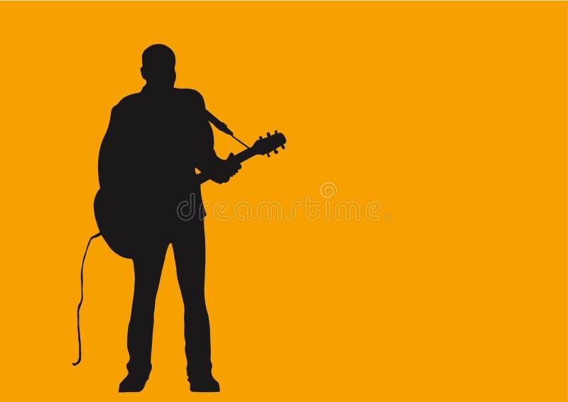 Um homem e sua guitarra. ilustração stock