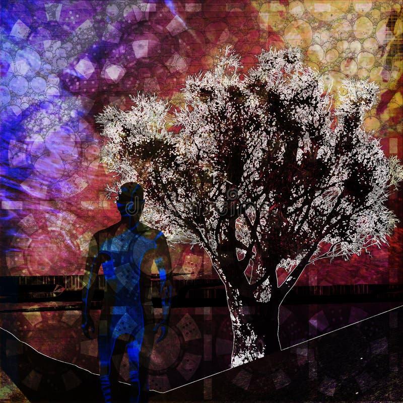 Um homem e uma árvore ilustração do vetor