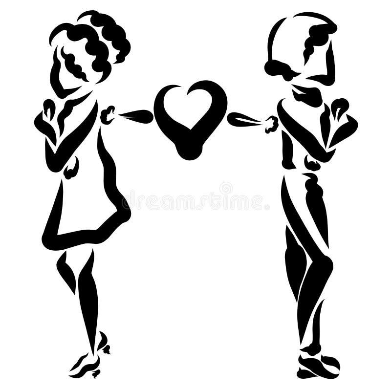 Um homem e uma mulher estão em uma discussão, mas seu um coração está tentando reconciliá-lo ilustração do vetor