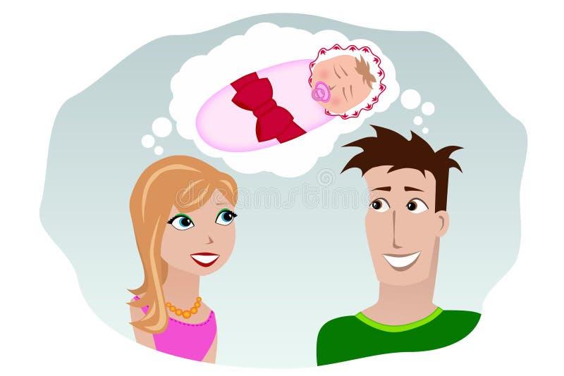 Um homem e uma mulher que sonham de uma criança ilustração stock