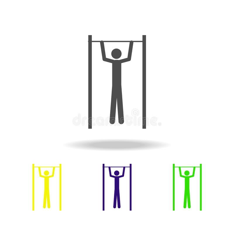 um homem em ícones coloridos de uma barra O elemento de ícones coloridos do esporte pode ser usado para a Web, logotipo, app móve ilustração stock