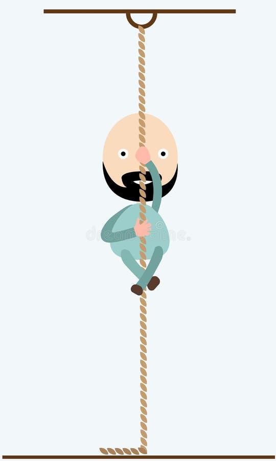 Um homem em escaladas de um gym em uma corda dos esportes Ilustração do vetor ilustração stock