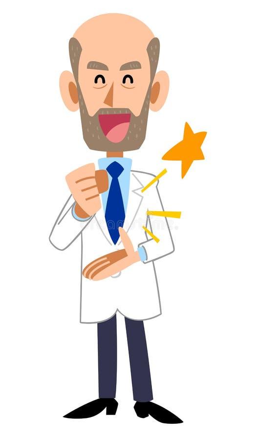 Um homem em um revestimento branco que seja convencido, barba ilustração royalty free