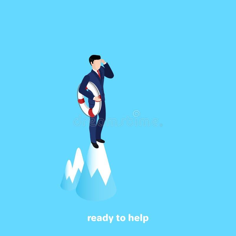 Um homem em um terno com um círculo espiral está sobre a montanha e olha na distância ilustração stock