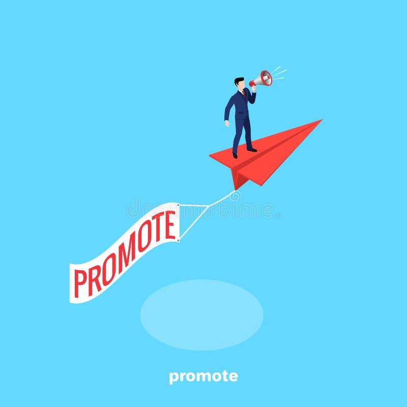 Um homem em um terno de negócio com um altifalante está em um avião de papel de voo ilustração do vetor