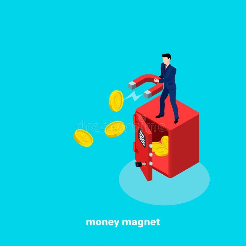 Um homem em um terno de negócio com um maganite em suas mãos está estando em um cofre forte grande ilustração stock
