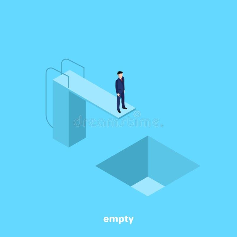 Um homem em um terno de negócio está estando em uma torre para saltar na água e abaixo dele é uma associação vazia ilustração do vetor