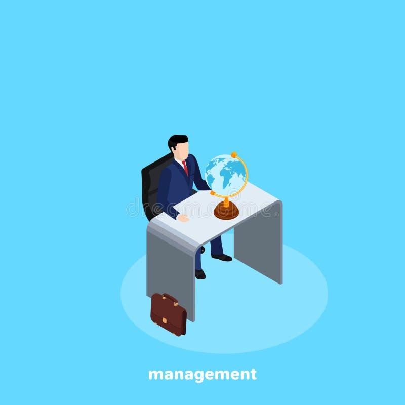 Um homem em um terno de negócio está sentando-se na mesa e em um globo na mesa ilustração stock
